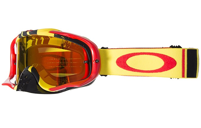 OAKLEY CROWBAR MX PINNED RACE GELB/ROT, FIRE IRIDIUM + KLARE SCHEIBE